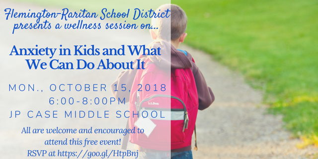 Anxiety in Kids Parent Seminar-Oct. 15, 6 p.m.